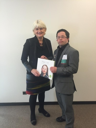 Pictured following a meeting in Brussels on the European Accessibility Act are L-R: Marian and Cian O' Connor, representative member of the National Advisory Council of Down Syndrome Ireland, Dublin.