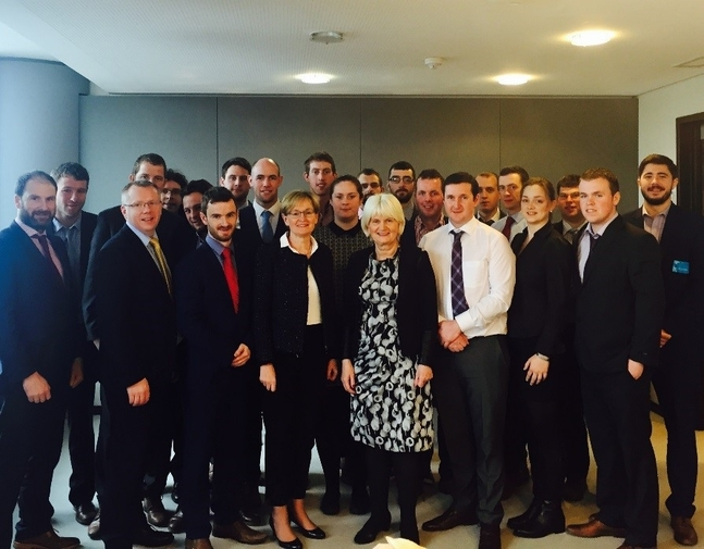 Myself and Mairead Mc Guinness MEP meeting a group of Macra Na Feirme Delegates in Brussels.