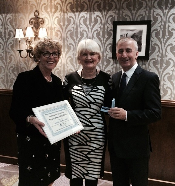 Pictured at the European Federation of Neurological Associations (EFNA) Award presentation in Clontarf Castle with Ann Little, President, European Federation of Neurological Associations and Gay Mitchell, former MEP and fellow Award winner.